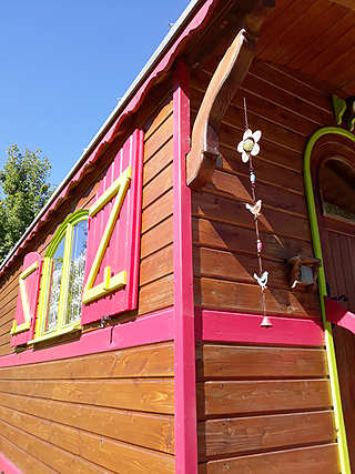 Les 7 Laux campsite sleeping in gypsy caravan roulotte unusual stay isere grenoble french alps romantic week-end