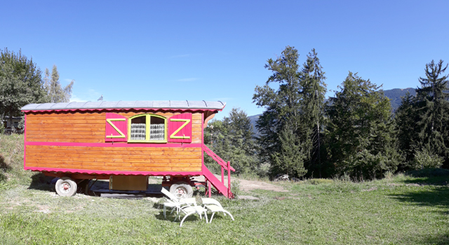 Les 7 Laux campsite sleeping in french gypsy caravan roulotte unusual stay isere grenoble french alps romantic weekend