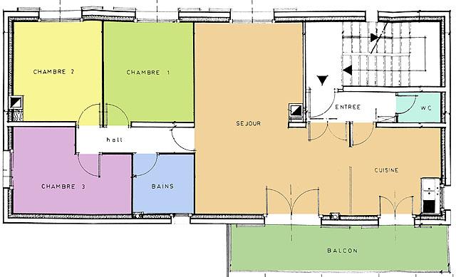 location gite isere 8 – 10 personnes plan 3 chambres