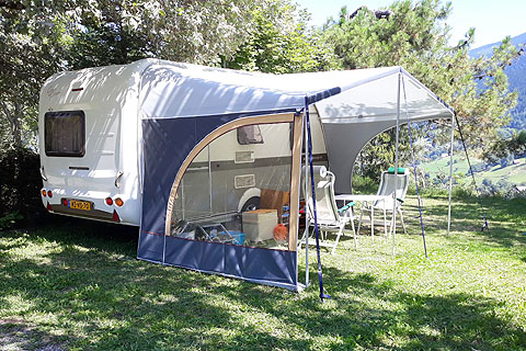 caravan area campsite grenoble french alps view mountain valley summer winter