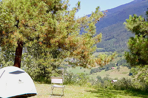 tent pitch campsite isere grenoble french alps view mountain valley summer