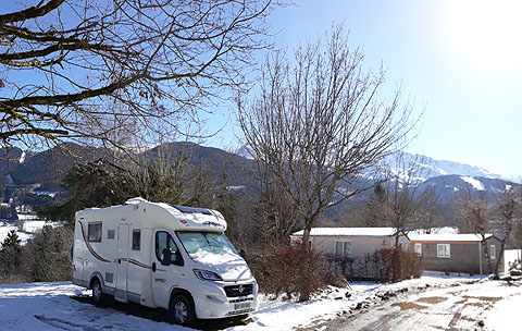 camping car grenoble french alps view mountain valley in winter